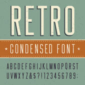Retro alphabet vector condensed font — Stock Vector