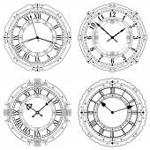 Set of different decorated clock faces — Stock Vector