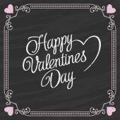 Valentines Day Lettering on a Chalkboard Background — Stock Vector