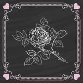 Sketch of Rose on a Chalkboard Background. Valentine card — Vecteur