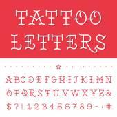 Alphabet - Tattoo Vector Font. — Stock vektor
