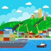 Commercial Dock in flat style design. Vector Illustration — Stock Vector