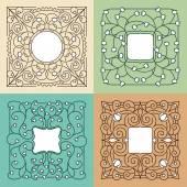 Vector floral mono line frame with copy space — Vetor de Stock