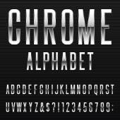 Chrome Alphabet Vector Font — Stock Vector