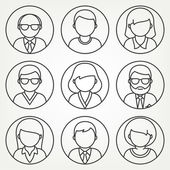 Vector mono line people icons set — Stock Vector