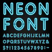 Neon Light Alphabet Vector Font — Stock Vector