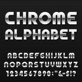 Chrome Alphabet Vector Font. — Stock Vector