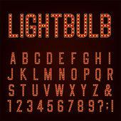 Retro Lightbulb Alphabet Vector Font — Stock Vector