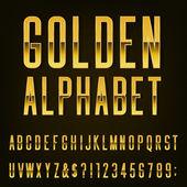 Golden Alphabet Vector Font. — Stock Vector