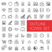 Outline icons set for web and applications. — Stock Vector
