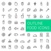 Outline food icons set for web and applications. — Stock Vector