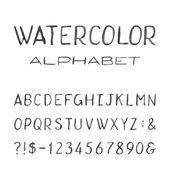 Watercolor Alphabet. Painted Vector Font. — Stock Vector