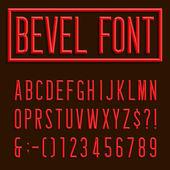 Retro Beveled Narrow Font.  Vector Alphabet. — Stock Vector