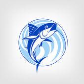 Fishing logo template - Tuna vector sign. — Stock Vector