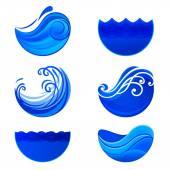 Splashing waves and water logos. Abstract vector signs. — Stock Vector