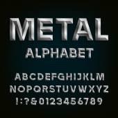 Metal Beveled Font. Vector Alphabet. — Stock Vector