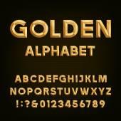 Golden Beveled Font. Vector Alphabet. — Stock Vector