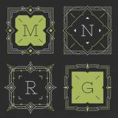 The set of stylish graceful monogram emblem templates. Vector illustration. — Stock Vector