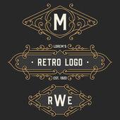 The set of stylish retro logo and emblem templates. Stock vector. — Stock Vector