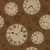 Clocks and gears vector distressed seamless pattern. — Stock Vector