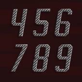 Karbon fiber alfabe vektör yazı tipi. Bölüm 6 / 6. Sayı 4-9. — Stok Vektör