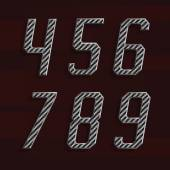 Uhlíkových vláken abeceda vektorové písmo. Část 6 z 6. Čísla 4-9. — Stock vektor