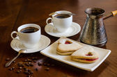 Coffee and cakes hearts — Foto Stock
