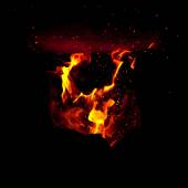 Flames erupt from the combustion chamber of the furnace — Stock Photo
