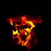 Flames erupt from the combustion chamber of the furnace, on a black background — Stock Photo