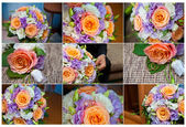 Bridal bouquet close-up collage — Stock Photo