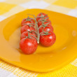Cherry tomatoes on a branch on a yellow plate — Stock Photo #67764739
