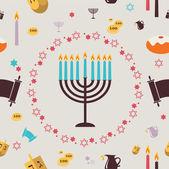 Pattern with Hanukkah symbols. Greeting card — Stock Vector