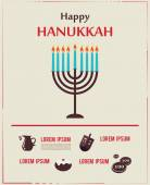 Infographics of famous symbols for the Jewish Holiday Hanukkah — Stock Vector