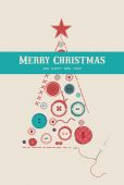 Collection of various sewing buttons organized as Christmas tree — Vector de stock