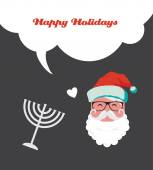 Happy holidays, jewish holiday menorah and Xmas Santa — Vector de stock