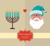 Happy holidays, jewish holiday menorah and Xmas Santa — Wektor stockowy