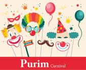 Design for Jewish holiday Purim with masks and traditional props. Vector illustration — Stock Vector