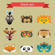 Set of animal masks for costume Party — Stock Vector #64805033