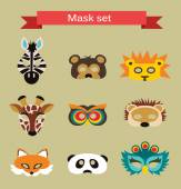 Set of animal masks for costume Party — Stock Vector