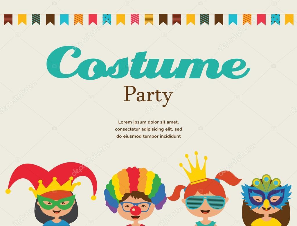 Invitación para fiesta de disfraces. Niños vestidos con trajes diferentes \u2014 Vector de stock