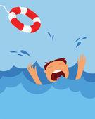 Drowning man screaming for help. summer danger — Stock Vector