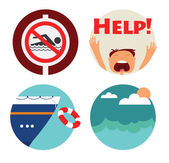 Rescue of drowning man icons. Prohibition forbidden red symbols for no swimming — Stock Vector