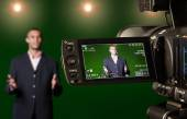 Presenter in the Viewfinder of a Digital Video Camera — Stock Photo