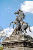 Equestrian statue on Place de la Concorde in Paris, France — Stock Photo