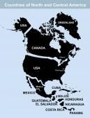 Carte des pays du Nord et Amérique centrale — Vecteur