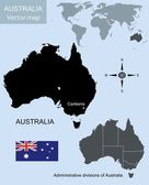 Australia geographic map — Stock Vector