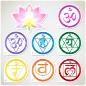 Chakras Set and Lotus — Stock Vector