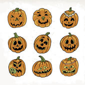 Collection of icons with a terrible pumpkin faces. Vector illustration — Stock Vector