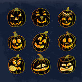 Collection of icons with a terrible pumpkin faces. Vector illusrtation — Stock Vector
