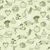 Kitchen seamless pattern with a variety of vegetables. Vector illustration — Stock Vector